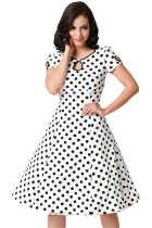 White & Black Dotted Cap Sleeve Swing Dress