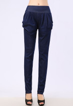 Navy Pull On Full Length Harem Pants