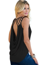 Black Cut out Draped Back Clubwear Top