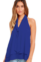 Royal Blue Double Cascading Ruffle Neck Tie Sleeveless Top