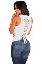 White Lace up Back Sleeveless Top