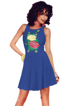 Blue Embroidered Floral Skater Dress