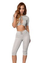 Grey Crop Lace-up Top and Pant Set