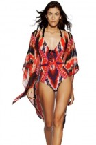 Red Tribal Print Open Front Kaftan Beach Cover Up
