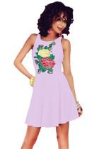 Purple Embroidered Floral Skater Dress