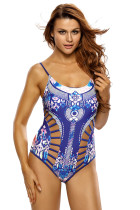 Blue Printed Strappy Cutout One Piece Swimsuit