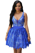 Royal Blue Contrast Illusion Tutu Skirt Skater Lace Dress
