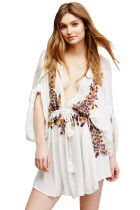 Elegant Floral Embroidery White Crepe Beach Dress