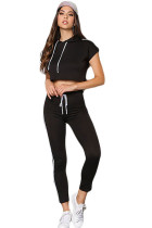 Black Double Stripe Hoodie Crop Top Jopgger Pant Set