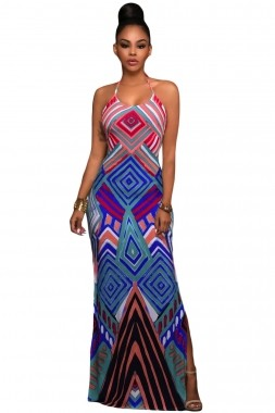 Bright Geometric Pattern Boho Style Maxi Dress with Slit