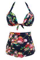 Floral Print Navy High Waist Bikini Swimsuit