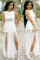 Angel White Jumpsuit with Doube Slits
