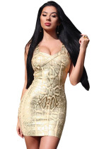 Snake Woodgrain Foil Print Bandage Dress in Gold