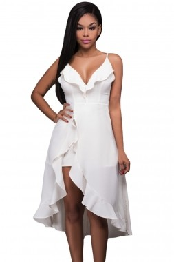 White Ruffle High-low Romper Dress