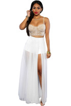 White Sheer Slit Panty Luxe Maxi Skirt
