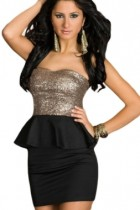Black Graceful Gleam Sequins Strapless Dress