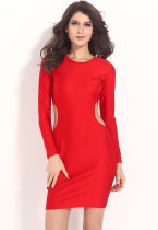 Club Girl Bodycon Cut out Red Midi Party Dress