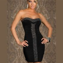 Sexy Slim Club Dresses Beaded Black Waist Dress
