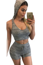 Gray Stylish Casual Hooded Crop Vest Short Set