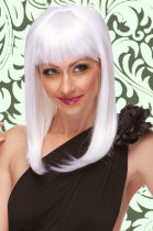 Shoulder Length Straight Wig in White