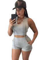 Grey Hooded Crop Top and Short Set