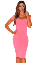 Pink Crisscross Off Shoulder Bodycon Dress