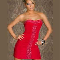 Red Sexy Slim Club Dresses Beaded Waist Dress