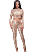 Gold Sequins Overall Two Pieces Pants Set