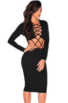 Black CrissCross Cut Out Dress