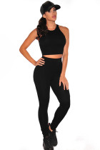 Black Racer Back Two Piece Pant Set
