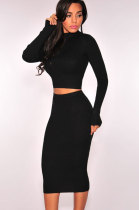 Black Ribbed Knit Turtleneck Two Piece Dress