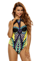 Mesh Cutout High Neck Egyptian Print One Piece Swimsuit