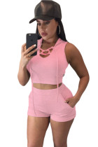 Pink Hooded Crop Top and Short Set