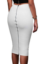 White Super Sleek Zipped Bodycon Skirt