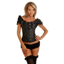 Puff Sleeve Bateau Steel Bone Corset 2 Colors