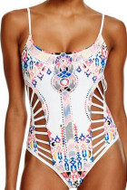 White Printed Strappy Cutout One Piece Swimsuit