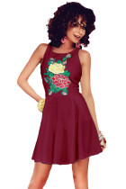 Burgundy Embroidered Floral Skater Dress