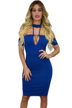 Blue Drop Shoulder Choker Nightclub Dress