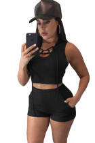 Black Hooded Crop Top and Short Set