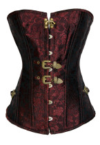 Plus Size Red Brocade Vintage Corset with Thong