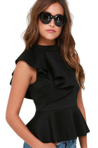Black Asymmetric Ruffle Side Peplum Top