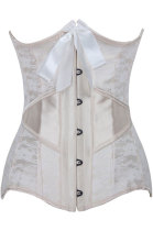 Plus Size 14 Steel Bones Lace Overlay Ivory Under Bust Corset