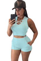 Light Blue Hooded Crop Top and Short Set