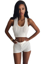 Stripe Hooded Crop Top and Short Set White