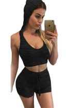 Black Stylish Casual Hooded Crop Vest Short Set