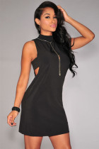 Black Mock Neck Cut-out Sides Jersey Dress
