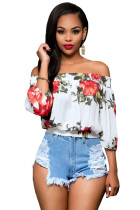 White Floral Off-the-shoulder Top
