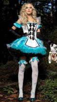 Halloween Blue Sexy Maid Costumes Cosplay Uniform