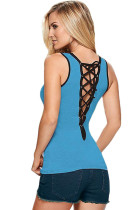 Contrast Trim Lace-up Back Light Blue Tank Top