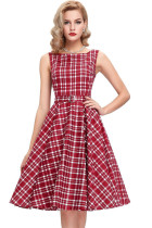 Vintage Check Print Swing Dress in Red